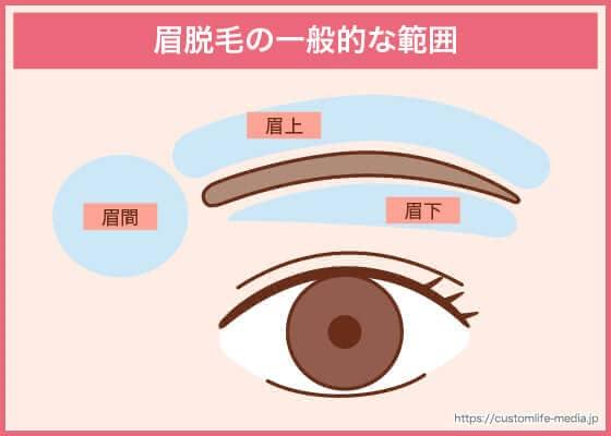眉脱毛の一般的な範囲