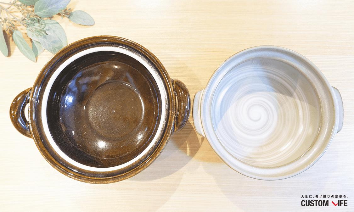 大きさの違う土鍋の写真