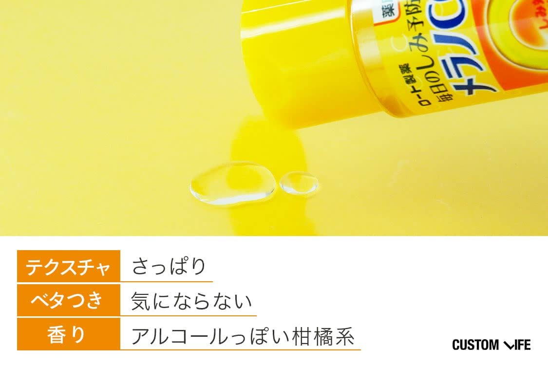 テクスチャはさっぱり、ベタつきは気にならない、アルコールっぽい柑橘系の香り