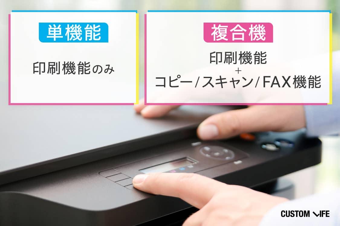 単機能は印刷機能のみ、複合機は印刷機能に加えコピー、スキャン、FAX機能などがついています。