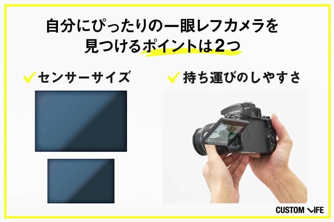一眼レフ選びはセンサーサイズと持ち運びのしやすさをチェック