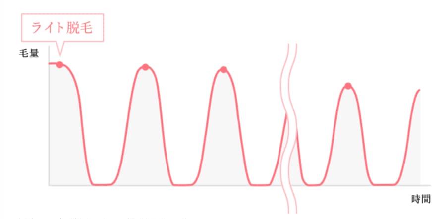 ライト脱毛の毛量変化のグラフ