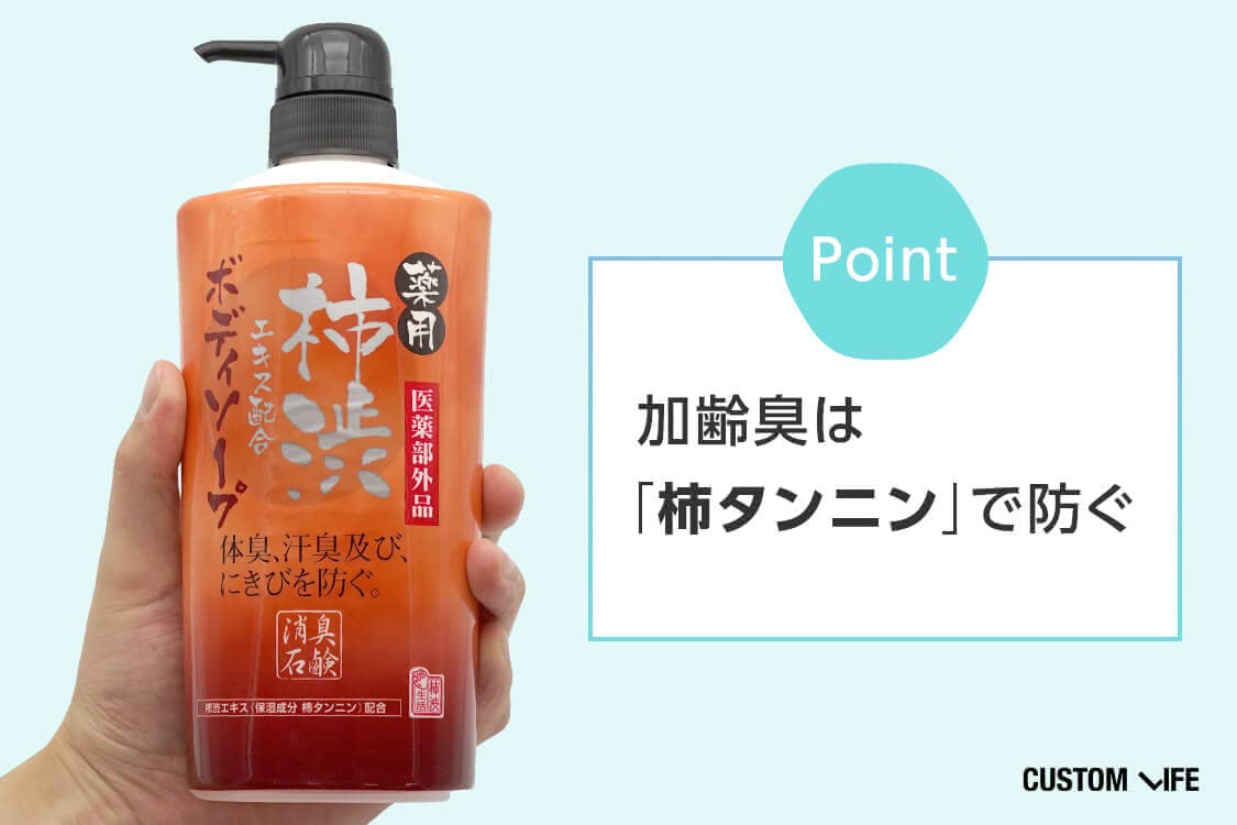 ポイント:加齢臭は「柿タンニン」で防ぐ