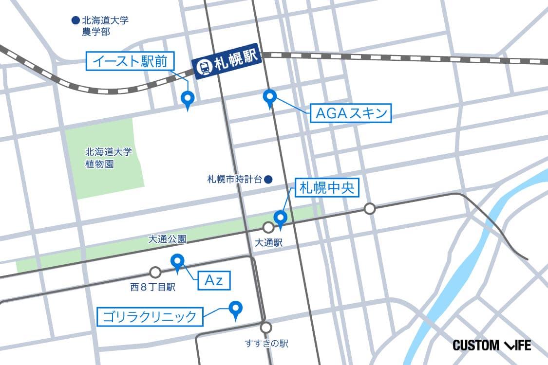 札幌周辺の地図