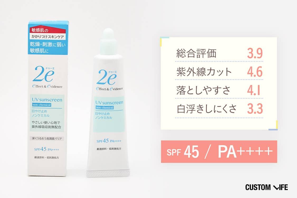SPF45 PA++++総合評価3.9 紫外線カット4.6 落としやすさ4.1 白浮きしにくさ3.3