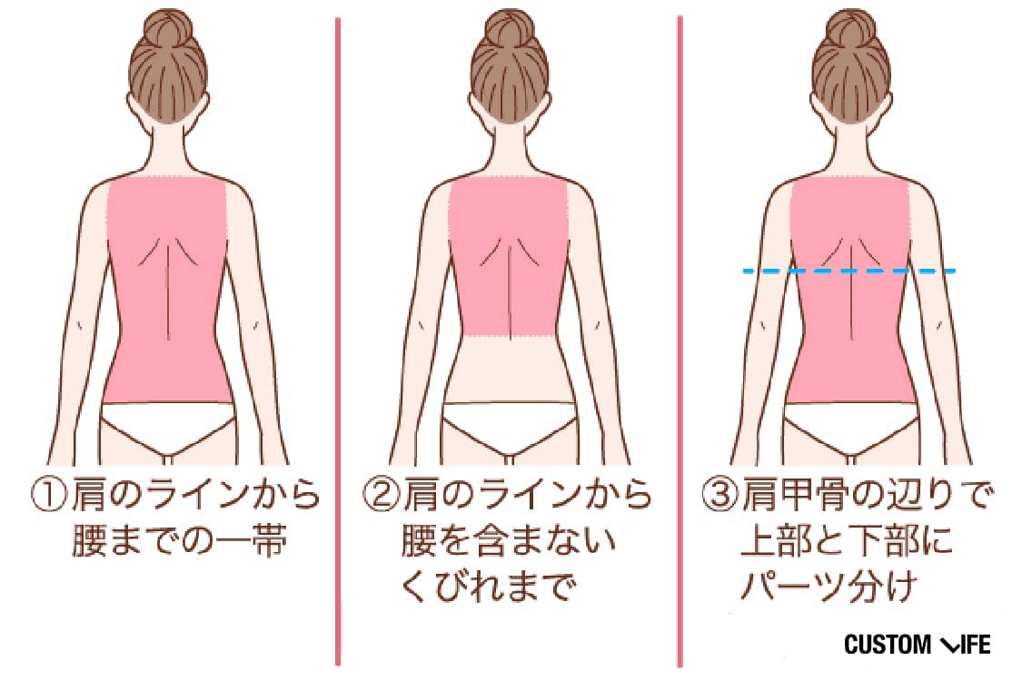①肩のラインから腰までの一帯②肩のラインから腰を含まないくびれまで③肩甲骨の辺りで上部と下部にパーツ分け