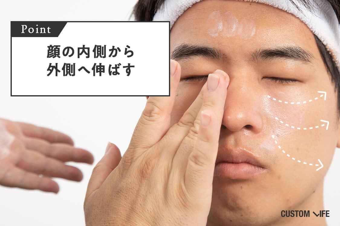 顔の内側から外側へ伸ばす