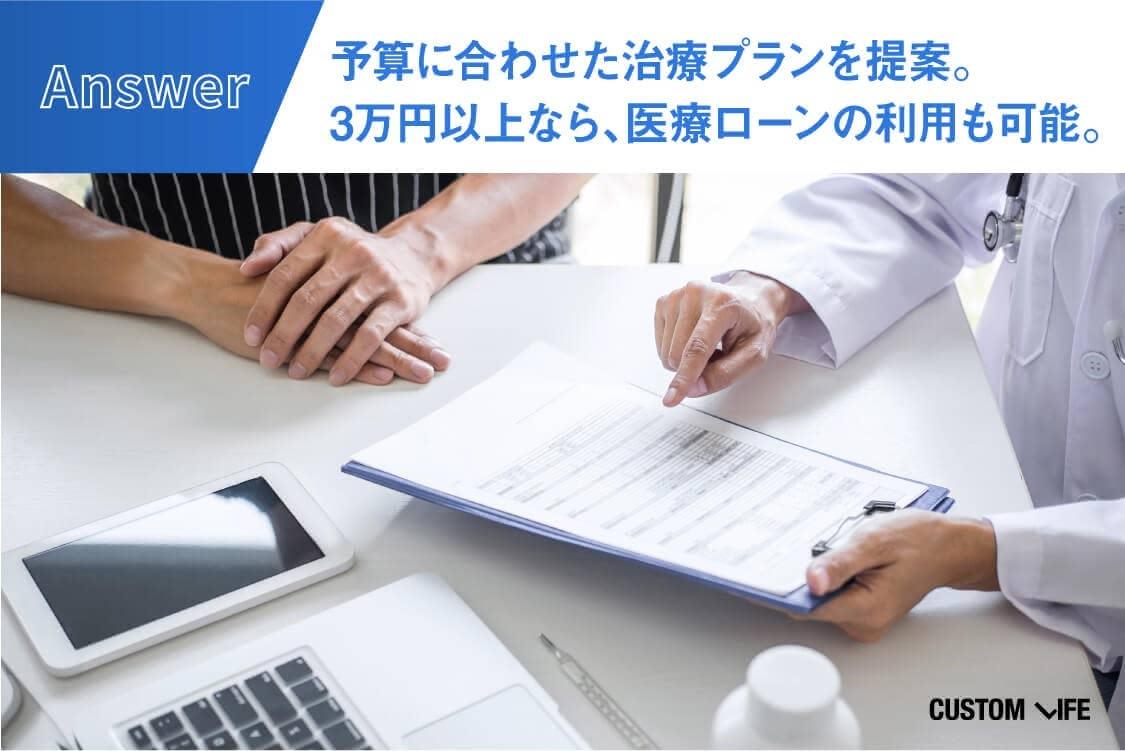 予算に合わせた治療プランを提案。 3万円以上なら、医療ローンの利用も可能。